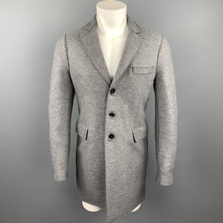 HARRIS WHARF LONDON Size 36 Grey Heather Wool Buttoned Coat