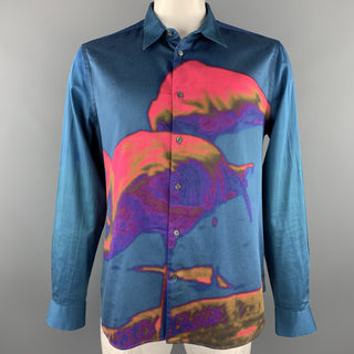 PAUL SMITH Size XXL Blue & Pink Flamingo Print Cotton Button Up Long Sleeve Shirt