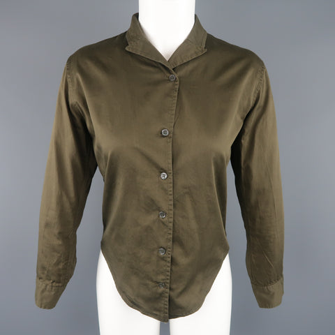 PAUL HARNDEN Size S Olive Cotton Pointed Lapel Collar Blouse