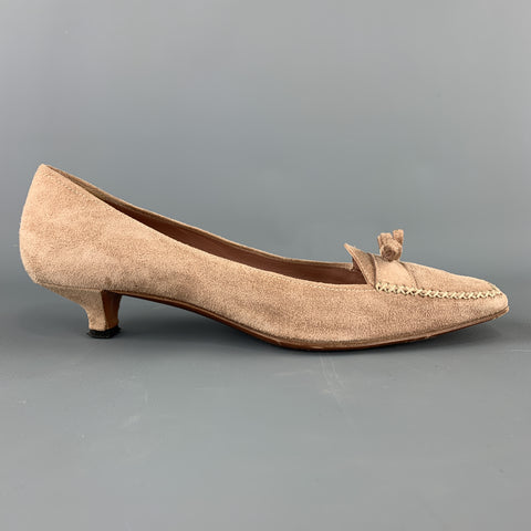 PRADA Size 9.5 Beige Suede Loafer Kitten Heel Pumps