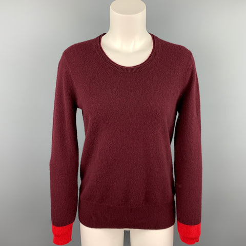 BURBERRY BRIT Size S Burgundy Knitted Color Block Cashmere Crew-Neck Sweater