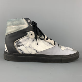 BALENCIAGA Size 10 Gray Print Marble Leather Reflective High Top Sneakers