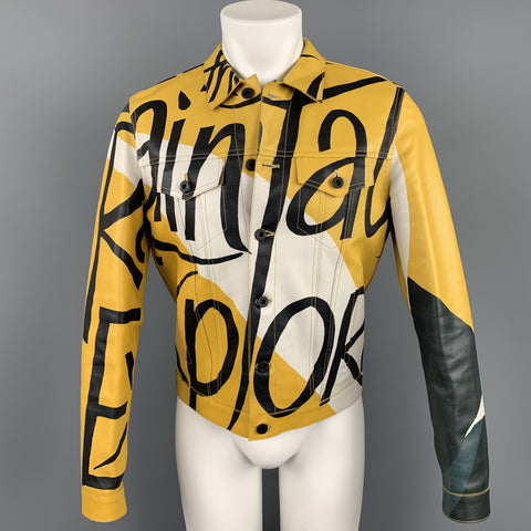 BURBERRY PRORSUM Spring 2015 Size 38 Antique Yellow Book Cover Print Leather Buttoned Jacket