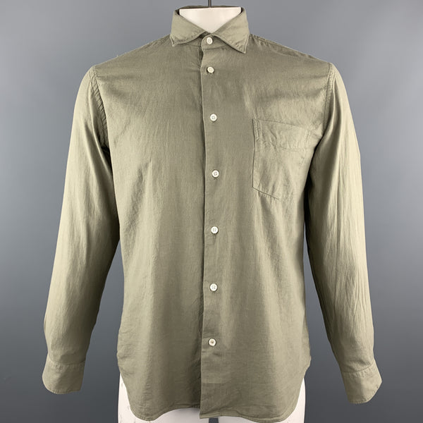 HARTFORD Size M Taupe Solid Cotton Button Up Long Sleeve Shirt
