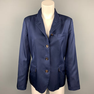 LUCIANO BARBERA Size 12 Navy Silk Notch Lapel Cropped Blazer