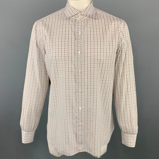 ISAIA Size XL Plaid White & Brown Cotton Button Up Long Sleeve Shirt