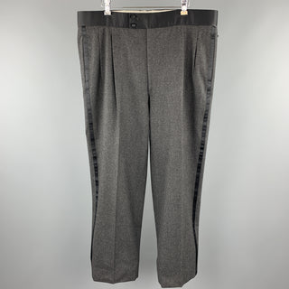 BRIONI Size 39 Dark Gray Heather Wool Tuxedo Dress Pants