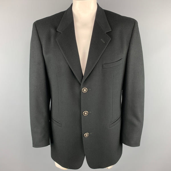 Vintage VERSUS by GIANNI VERSACE Size 42  Black Wool / Cashmere Embossed Sport Coat