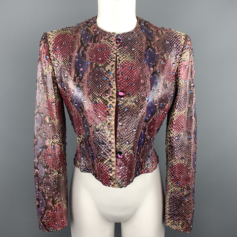 BILL BLASS Size 8 Pink & Purple Rhinestone Snake Skin Cropped Jacket