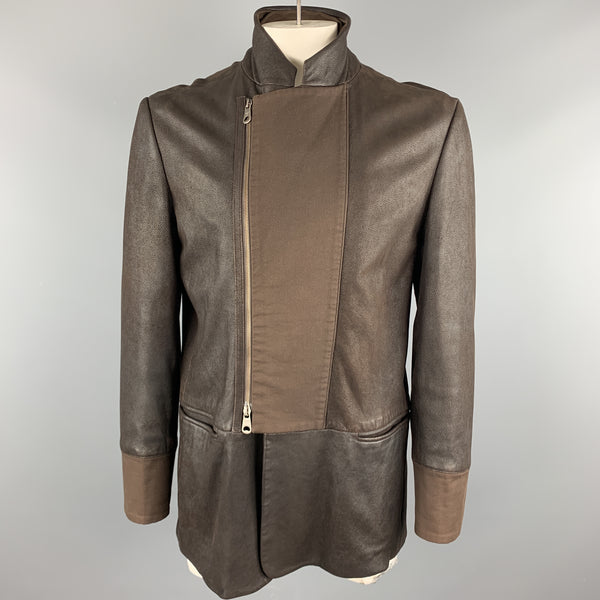 EMPORIO ARMANI Size L Brown Solid Leather Asymmetrical Coat