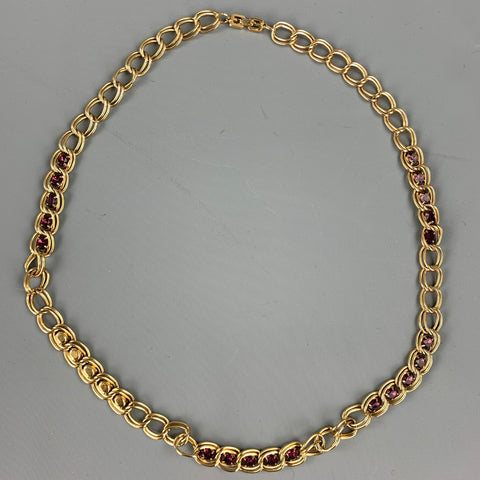 GIVENCHY Gold Tone Chain Link Stone Metal Necklace