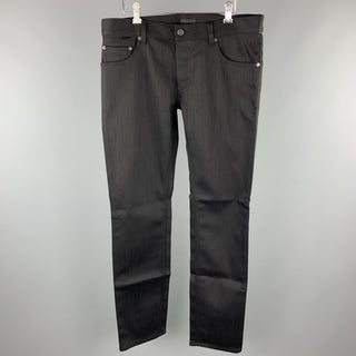 PRADA Size 34 Black Solid Cotton / Polyurethane Button Fly Jeans