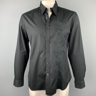PS by PAUL SMITH Size XL Black Embroidery Cotton Button Up Long Sleeve Shirt