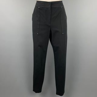 ST. JOHN Size 6 Black Cotton Blend Skinny Dress Pants