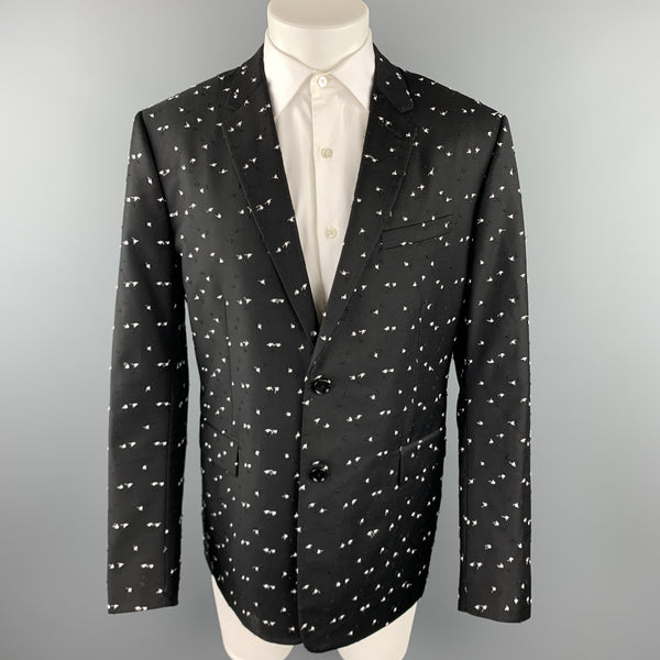 DIOR HOMME Pre-Fall 2017 Size 46 Black & White Textured Wool Notch Lapel Sport Coat