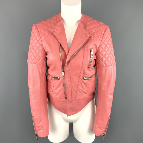 BALENCIAGA Size 6 Pink Quilted Leather Moto Biker Jacket