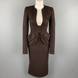 ZAC POSEN Size 2 Brown Felt Collarless Fishtail Pencil Skirt Suit