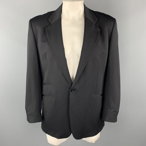 GENE MEYER 42 Regular Black Nylon Blend Notch Lapel Single Button Sport Coat