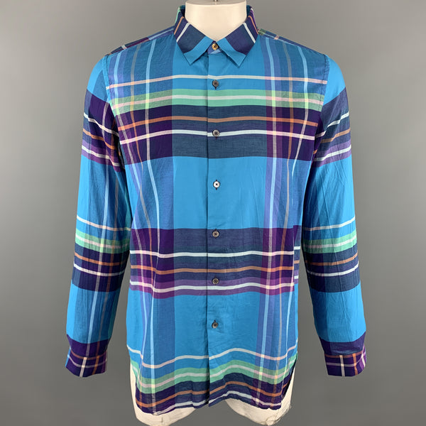 PAUL SMITH Size XL Plaid Aqua Cotton Button Up Pointed Collar Long Sleeve Shirt