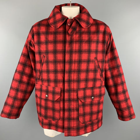 WOOLRICH Size L Red & Black Plaid Wool Hidden Buttons Hunter Coat