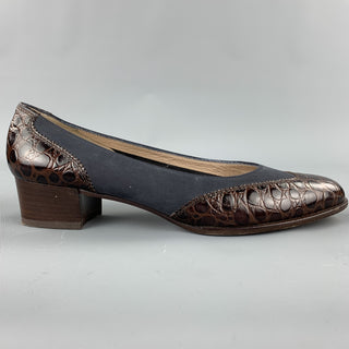 SALVATORE FERRAGAMO Size 10 Brown / Blue Suede Embossed Pumps
