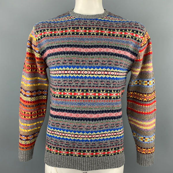 BEAMS PLUS Size L Multi-Color Fairisle Wool / Nylon Crew-Neck Sweater