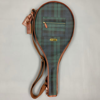 Vintage RALPH LAUREN Blackwatch Coated Canvas Leather Tennis Racket Cover