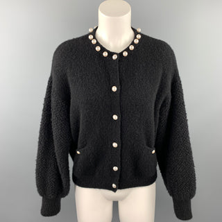 CHANEL Size 6 Black Knitted Textured Cashmere Blend Cardigan