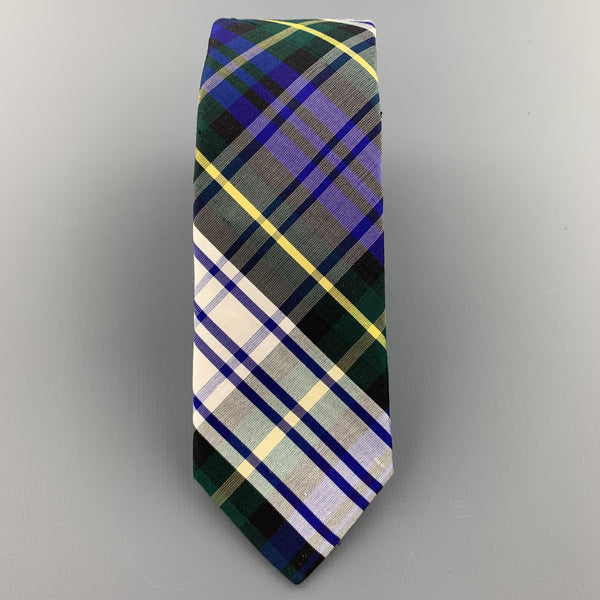 BARNEY'S CO-OP Blue White Yellow & Green Plaid Silk Skinny Tie