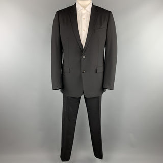 DIOR HOMME Size 44 Black Virgin Wool Notch Lapel Two Button Suit
