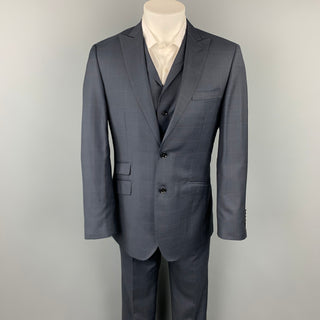 ENGLISH LAUNDRY Arrogant Size 40 Navy Plaid Lana Wool Peak Lapel 3 Piece Suit