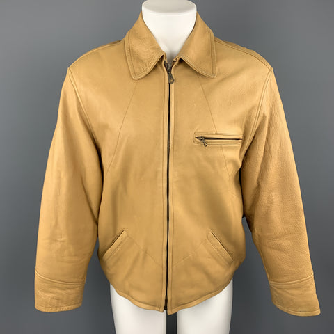 I.MAGNIN Size S Khaki Textured Leather Zip Up Collared Jacket