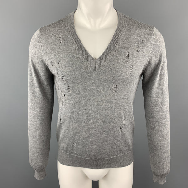 SPURR Size S Gray Distressed Wool V-neck Sweater