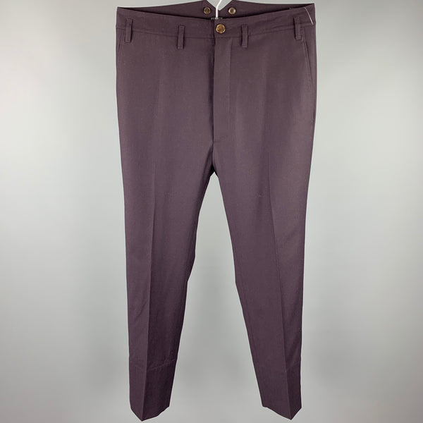 VIVIENNE WESTWOOD MAN Size 34 Eggplant Wool Drop-Crotch Dress Pants