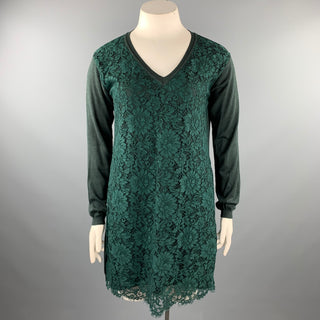 VALENTINO Size L Dark Green Lace Wool Blend Tunic Dress