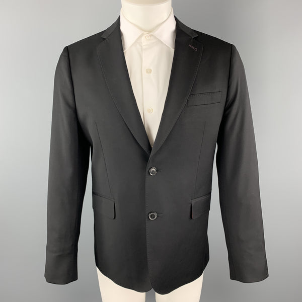 PAUL SMITH Size 42 Short Solid Black Wool Notch Lapel Sport Coat