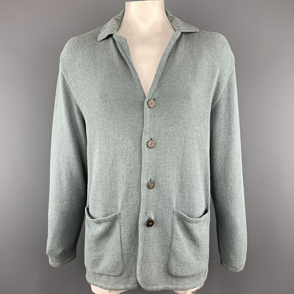 ERMENEGILDO ZEGNA Size M Oversized Sea Foam Knitted Cotton Buttoned Cardigan Jacket