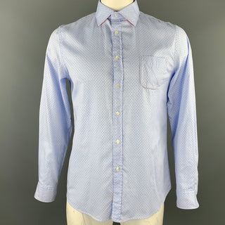 KOIKE Size L Light Blue Dots Cotton Button Up Long Sleeve Shirt