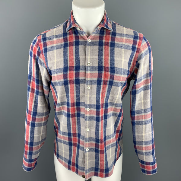 BILLY REID Size S Gray & Blue Plaid Cotton Button Up Long Sleeve Shirt