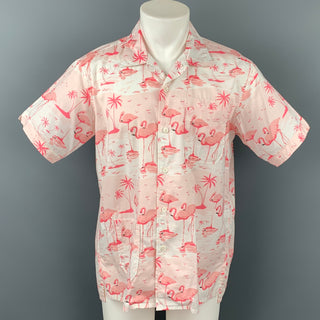 ENGINEERED GARMENTS Size M Pink & White Flamingo Print Cotton Camp Short Sleeve Shirt