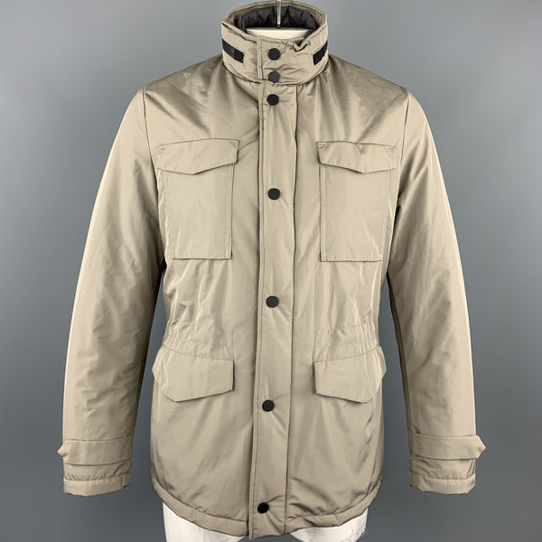 EREDI PISANO M Khaki Beige Padded Patch Pocket Winter Jacket
