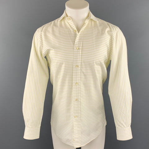 ETRO Size S White Horizontal Stripe Cotton Button Up Long Sleeve Shirt