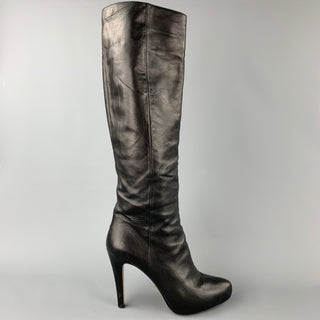 PRADA Size 10 Black Leather Knee High Boots