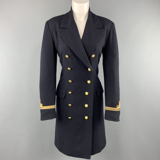 RALPH LAUREN Size 6 Navy Wool Double Breasted Gold Button Nautical Coat