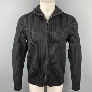 LOUIS VUITTON Size M Black Ribbed Knit Wool Blend Zip Up Jacket