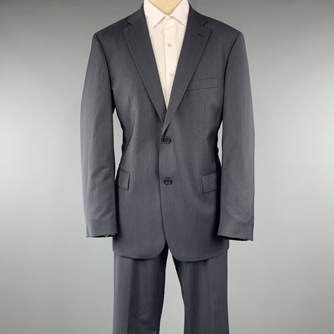HUGO BOSS Size 42 Navy Solid Virgin Wool Notch Lapel 34 x 32 Suit