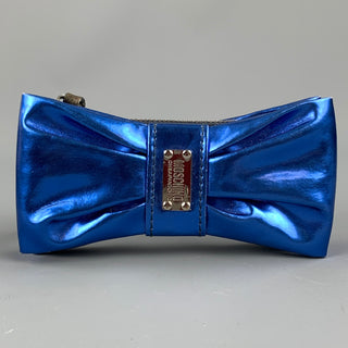MOSCHINO Blue Patent Leather Bow Key Chain
