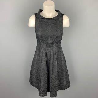 CUE Size 8 Black Snake Skin Print Polyester Pleated Cocktail Dress