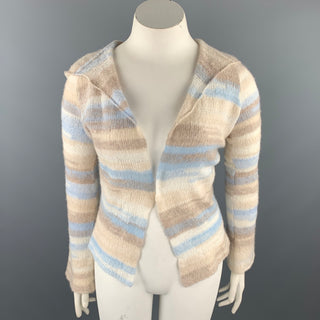 CASMARI Size L Multi-Color Knitted Cashmere / Lycra Hooded Cardigan