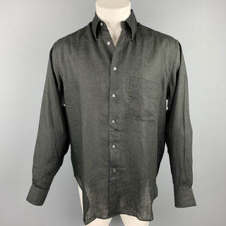 GIORGIO ARMANI Size S Black Linen Button Up Long Sleeve Shirt
